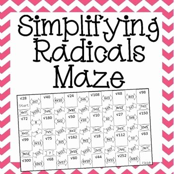 Simplifying Radicals with Variables Worksheet Unique Simplifying Radicals Maze Radicals