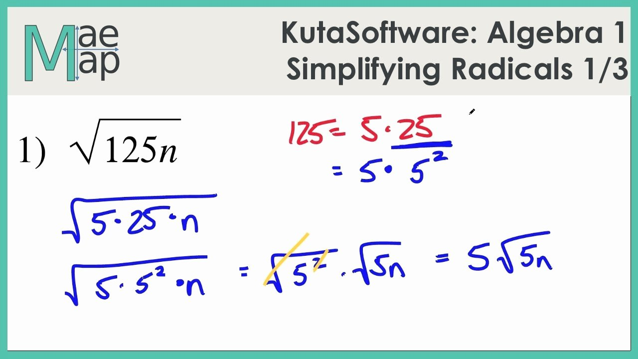 Simplifying Radicals Worksheet 1 Answers Lovely Kutasoftware Algebra 1 Simplifying Radicals Part 1