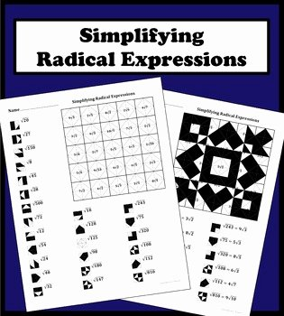 Simplifying Radicals Worksheet Algebra 1 Awesome Simplifying Radical Expressions Color Worksheet by Aric