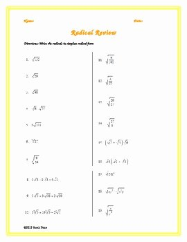 Simplifying Radicals Worksheet Algebra 1 Elegant Simplifying Radicals Practice Worksheet by Sarah Price