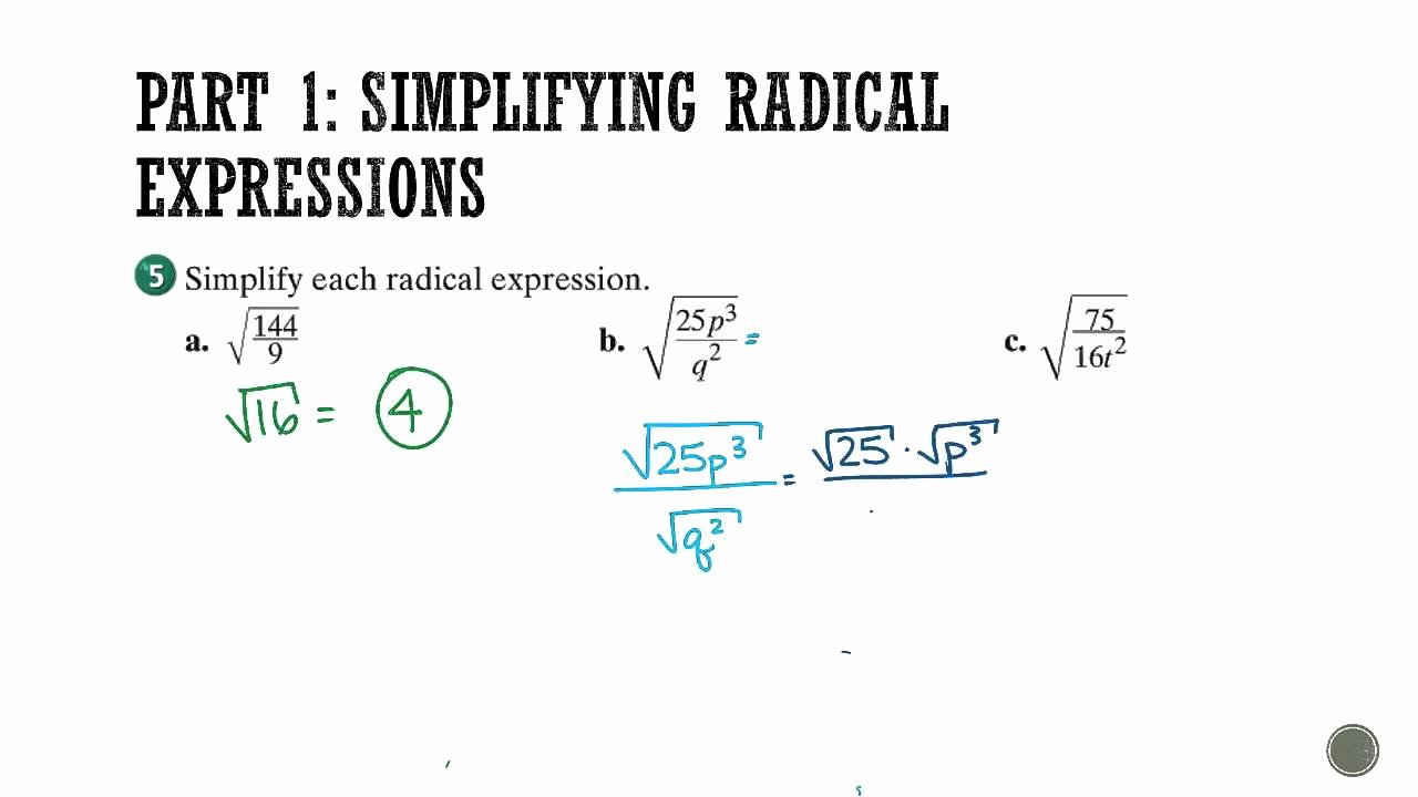 Simplifying Radicals Worksheet Algebra 1 Fresh Algebra 1 Section 11 1 Simplifying Radical Expressions