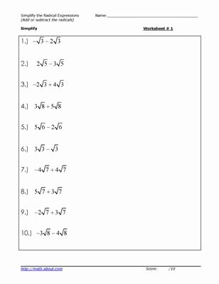 Simplifying Radicals Worksheet Algebra 1 Lovely Simplify the Radicals Worksheets