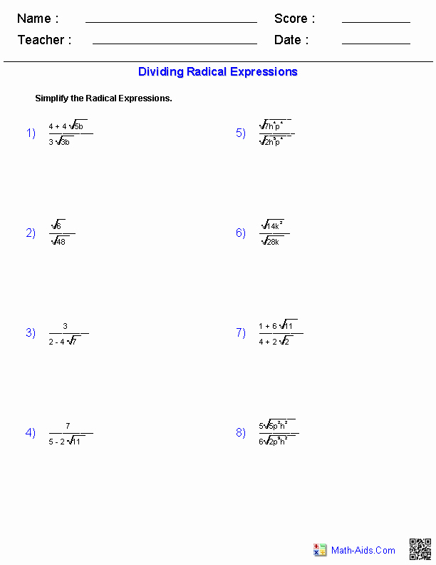 Simplifying Radicals Worksheet Algebra 1 Luxury Dividing Radical Expressions Worksheets
