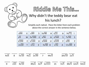 Simplifying Radicals Worksheet Algebra 1 New Riddle Me This Simplifying Radicals Easy by