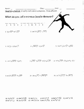 Simplifying Radicals Worksheet Algebra 1 New Simplifying Radicals Joke Worksheet with Answer Key by