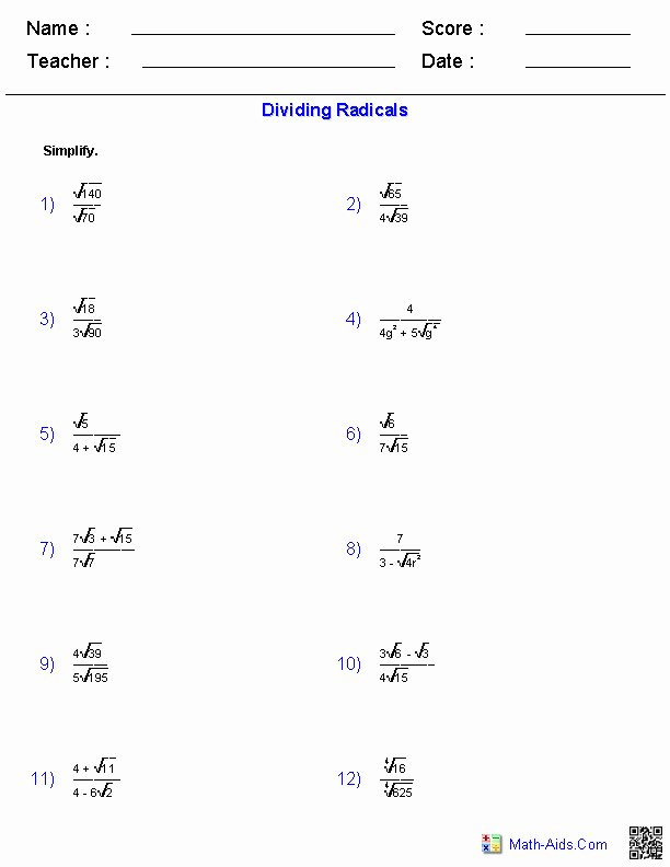 Simplifying Radicals Worksheet Algebra 1 Unique Simplifying Radicals Worksheet 1