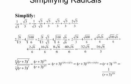 Simplifying Radicals Worksheet Algebra 2 Beautiful 22 Beautiful Simplifying Radical Expressions Worksheet