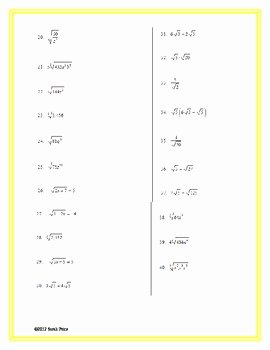 Simplifying Radicals Worksheet Algebra 2 Elegant Simplifying Radicals Practice Worksheet by Sarah Price
