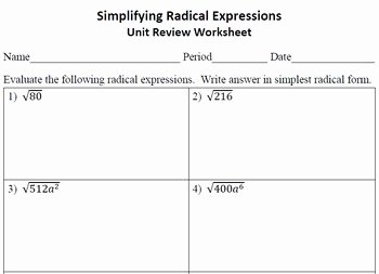 Simplifying Radicals Worksheet Algebra 2 Inspirational Math Worksheets Simplifying Radicals Math Best Free