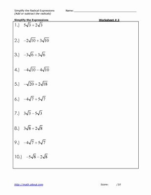 Simplifying Radicals Worksheet Algebra 2 New 13 Best Of Simplifying Radicals Math Worksheets