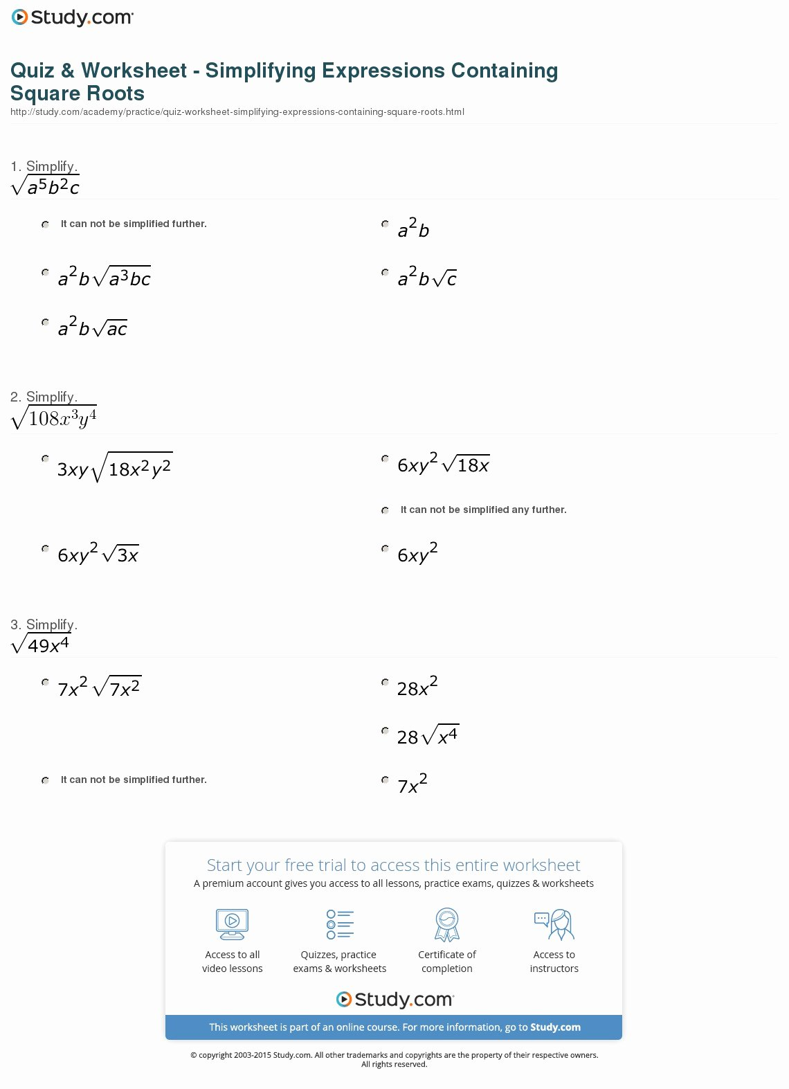 Simplifying Radicals Worksheet Answer Key Elegant 59 Simplifying Square Roots Worksheet Algebra 2