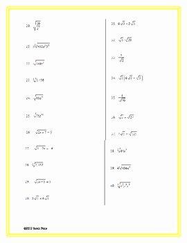Simplifying Radicals Worksheet Answer Key Fresh Simplifying Radicals Practice Worksheet by Sarah Price
