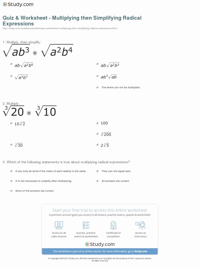 Simplifying Radicals Worksheet Answer Key Inspirational Unbelievable Quiz Worksheet Multiplying then Simplifying