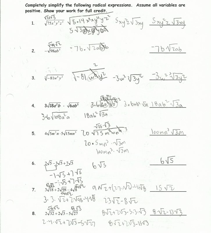 Simplifying Radicals Worksheet Answer Key Luxury Simplifying Radical Expressions with Variables and