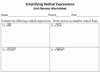 Simplifying Radicals Worksheet Answers Elegant Simplifying Radical Expressions Unit Review Worksheet