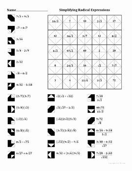 Simplifying Radicals Worksheet Pdf Luxury Simplifying Radical Expression Add Sub Mult Div Color
