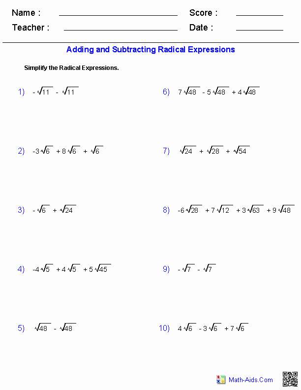 Simplifying Radicals Worksheet Pdf New Algebra 1 Worksheets