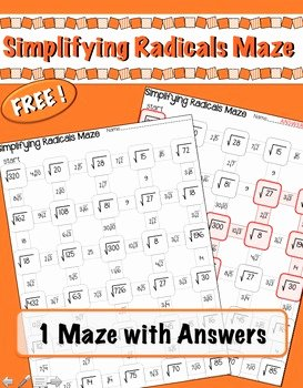 Simplifying Radicals Worksheet with Answers Beautiful Simplifying Radicals Maze Freebie by Lisa Tarman