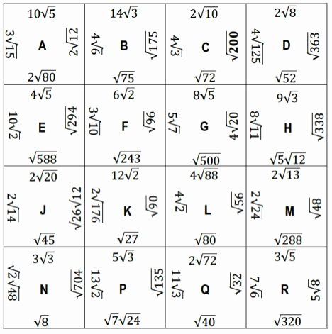 Simplifying Radicals Worksheet with Answers Elegant Simplifying Square Puzzle Align the Radicals that
