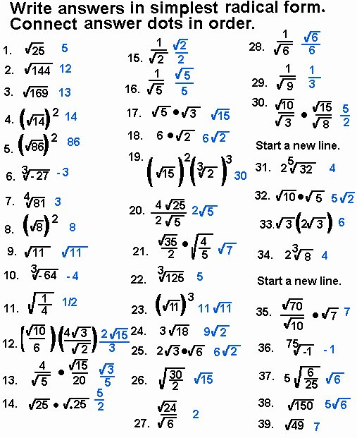 Simplifying Radicals Worksheet with Answers Lovely Simplify Radicals Worksheet