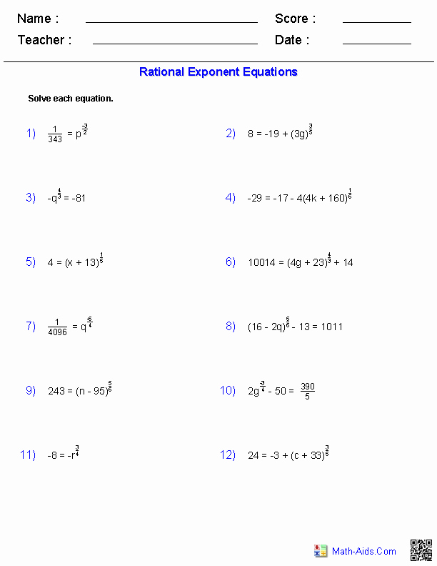 Simplifying Rational Exponents Worksheet Awesome Algebra 2 Worksheets