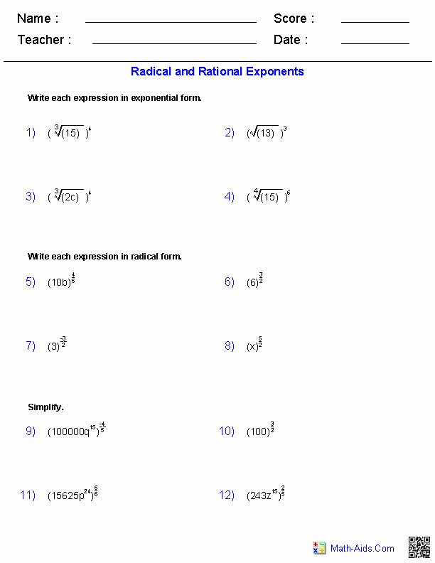 Simplifying Rational Exponents Worksheet Elegant Fractional Exponents Worksheet