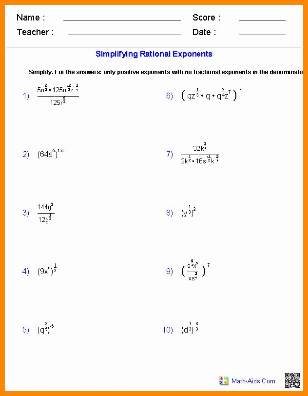 Simplifying Rational Exponents Worksheet New Rational Exponents Worksheet