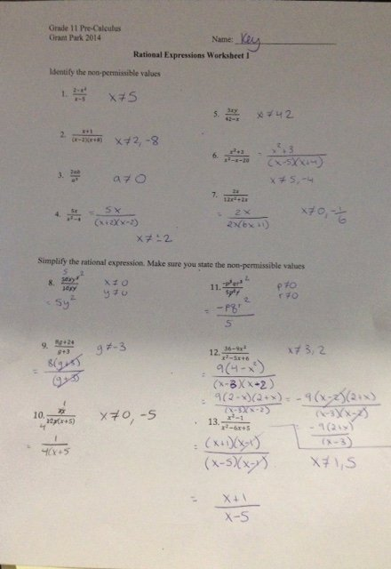Simplifying Rational Expressions Worksheet Answers Beautiful Grade 11 Pre Calculus Mundleclass