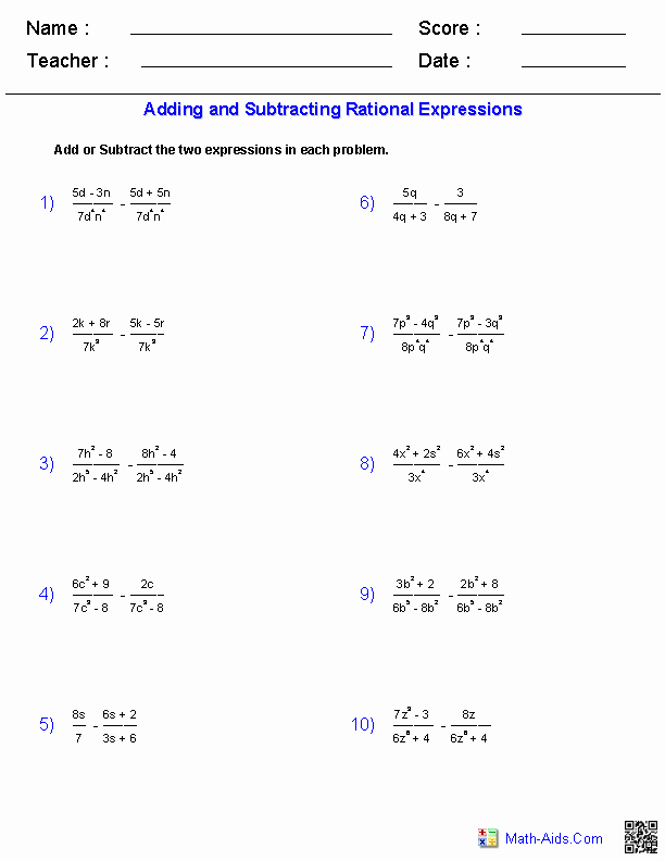 Simplifying Rational Expressions Worksheet Answers New Pin On Math Aids