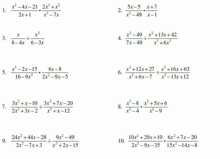 Simplifying Rational Expressions Worksheet Awesome Multiplying Rational Expressions Worksheet