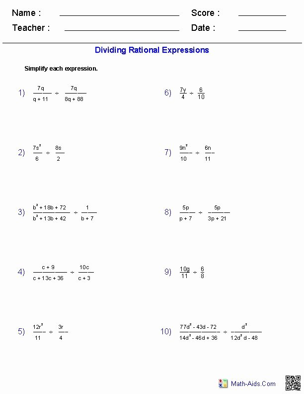 Simplifying Rational Expressions Worksheet Elegant Dividing Rational Expressions Worksheets