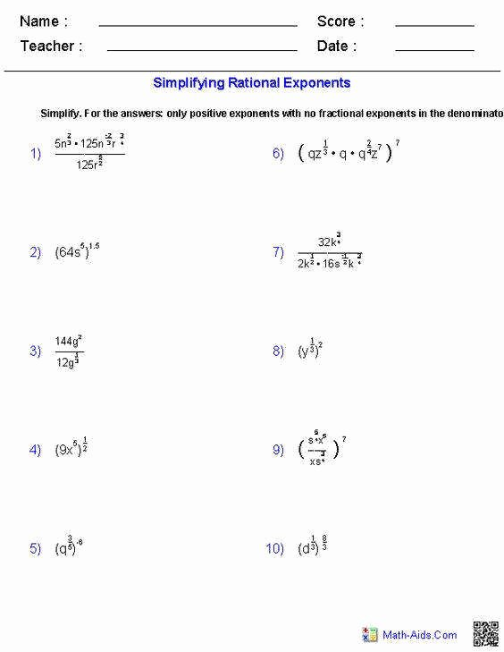 Simplifying Rational Expressions Worksheet Fresh Simplifying Exponents Worksheet