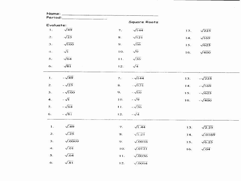 Simplifying Square Roots Worksheet Answers Beautiful Simplifying Square Roots Worksheet