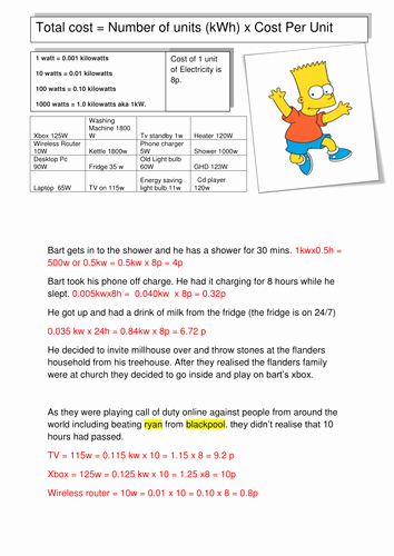 Simpsons Variables Worksheet Answers Awesome the Simpsons Cost Of Electricity by Bigdavekelly