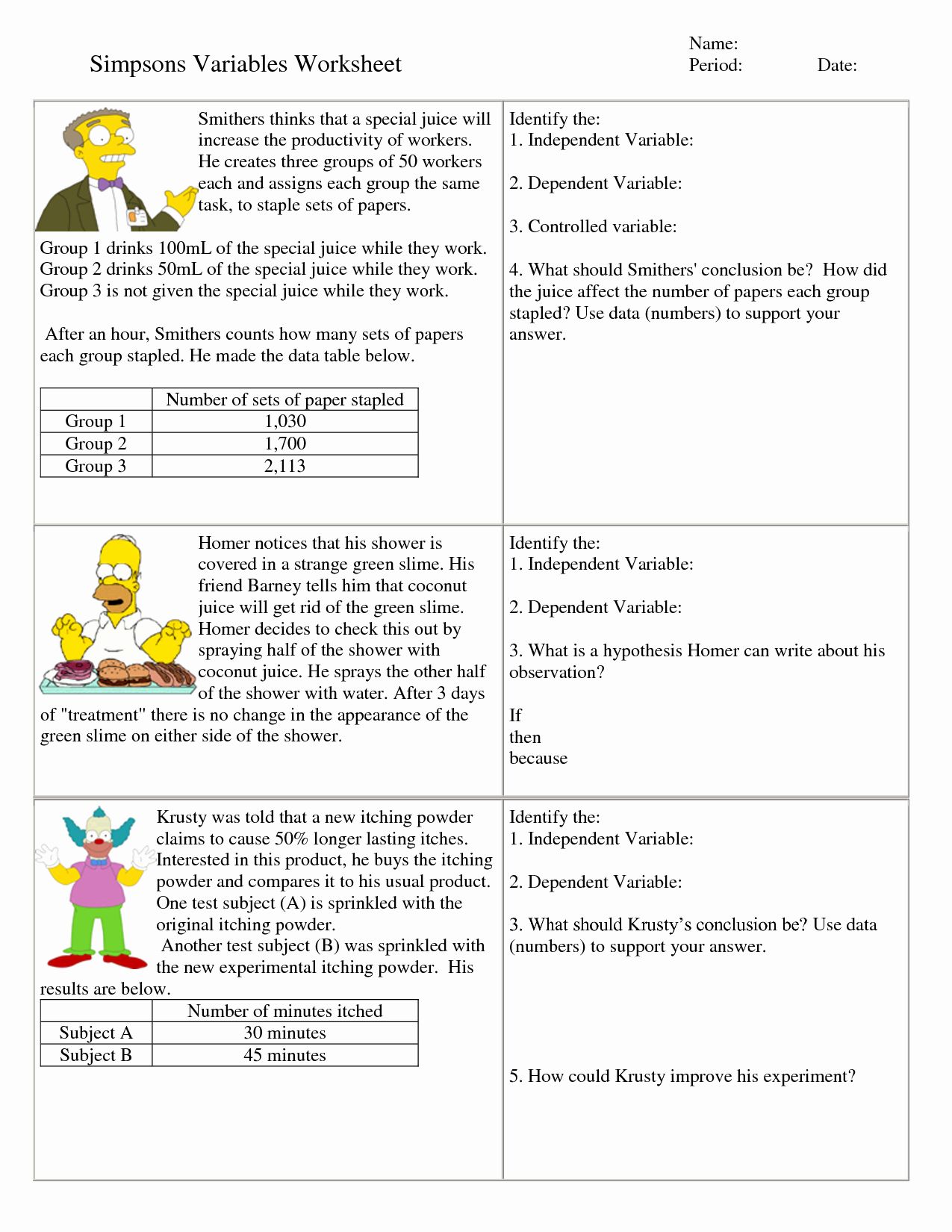 Simpsons Variables Worksheet Answers Elegant Independent and Dependent Variables Math Worksheet with