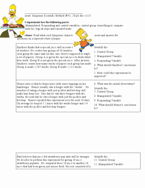 Simpsons Variables Worksheet Answers Inspirational Variables with the Simpsons Worksheet for 6th Grade