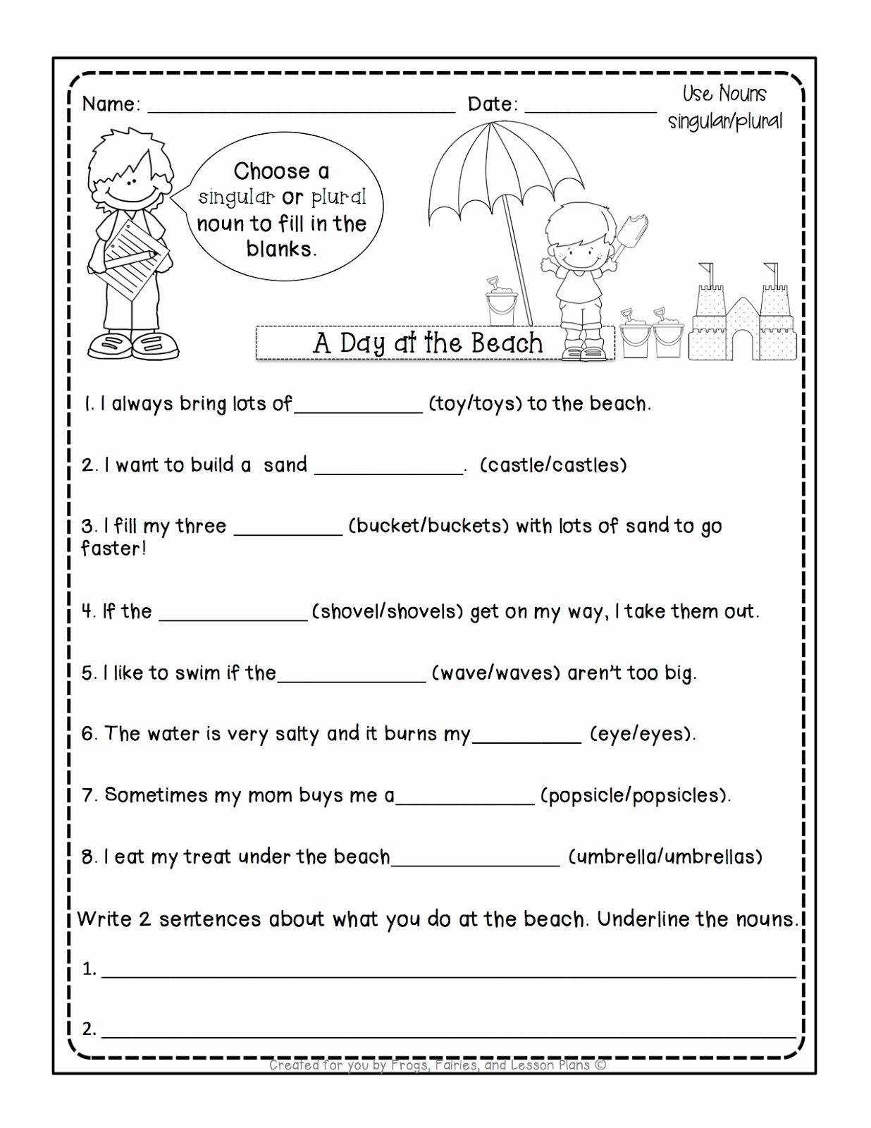 Singular and Plural Nouns Worksheet Elegant Frogs Fairies and Lesson Plans 5 Noun Lessons You Need