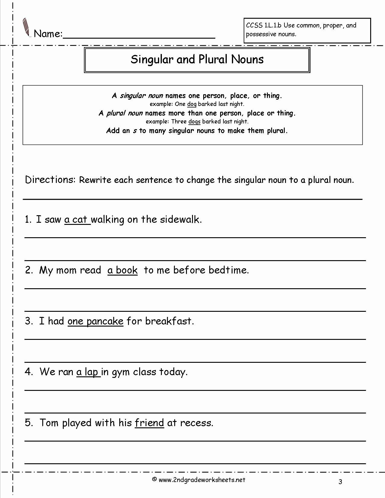 Singular and Plural Nouns Worksheet Lovely Singular and Plural Nouns Worksheets