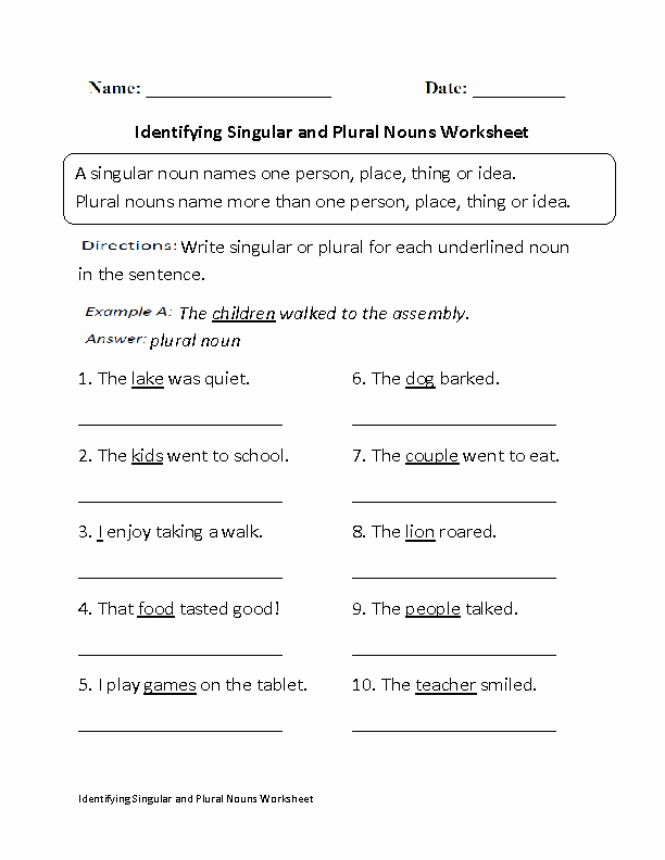 Singular and Plural Nouns Worksheet New 16 Best Of Singular and Plural Noun Worksheets