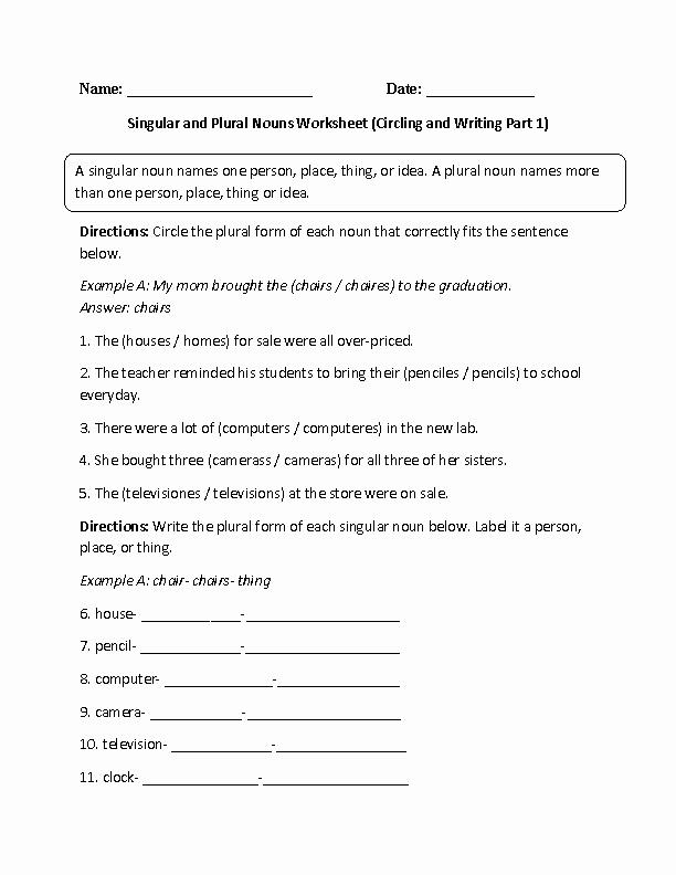 Singular and Plural Nouns Worksheet New Nouns Worksheets