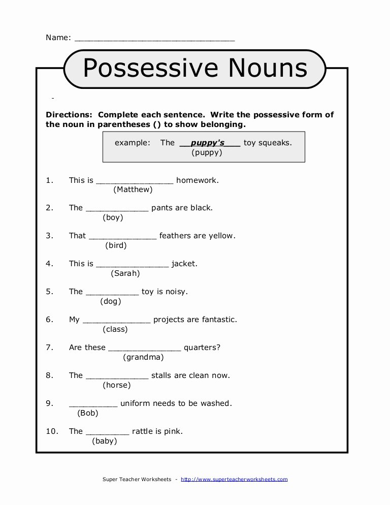 Singular Possessive Nouns Worksheet Awesome Possessive Nouns