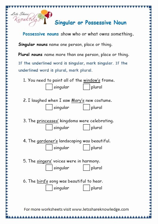 Singular Possessive Nouns Worksheet Beautiful Grade 3 Grammar topic 8 Possessive Nouns Worksheets
