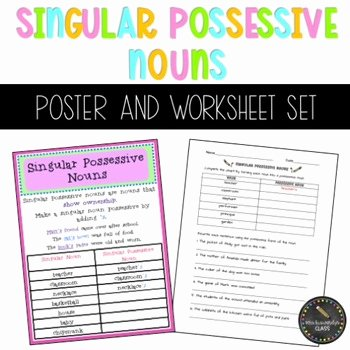 Singular Possessive Nouns Worksheet Best Of Singular Possessive Nouns Poster and Worksheet Bundle by