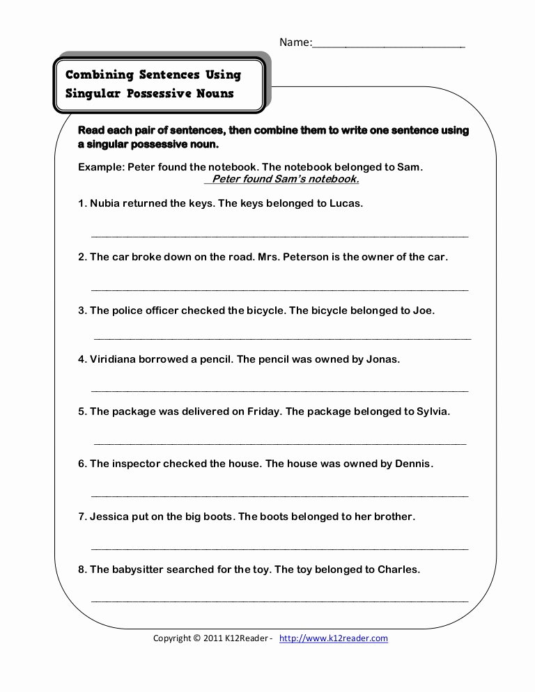 Singular Possessive Nouns Worksheet Elegant Singular Possessive Nouns
