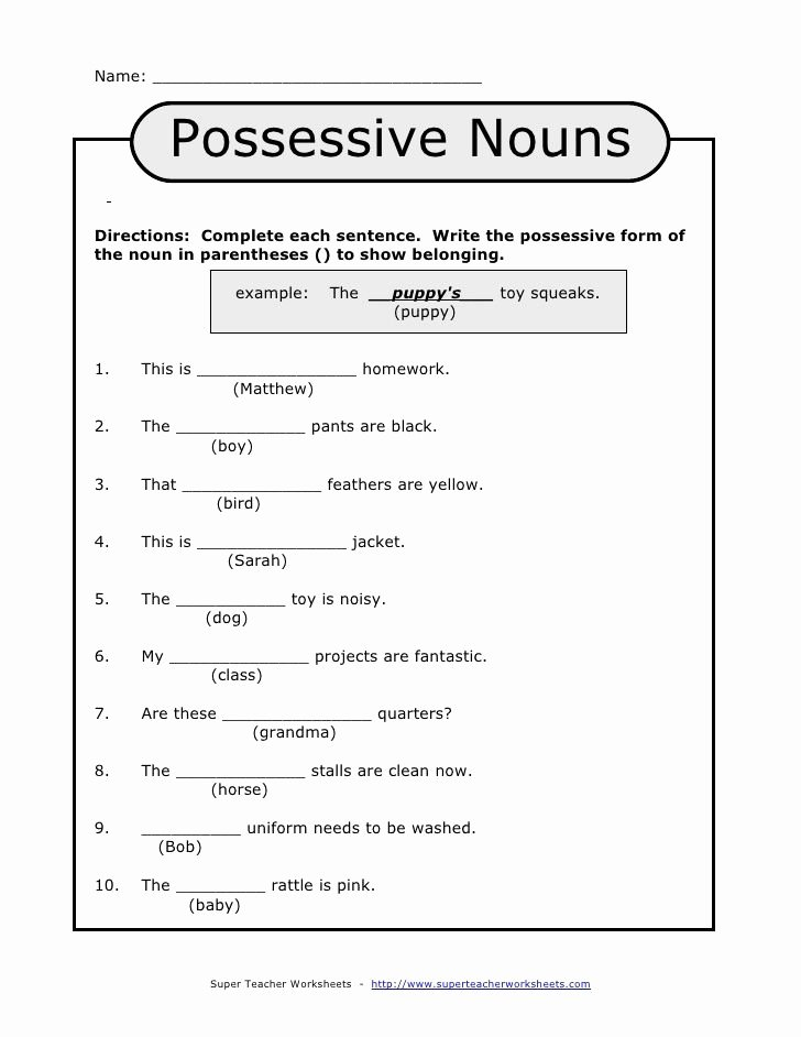 Singular Possessive Nouns Worksheet Fresh Name Possessive
