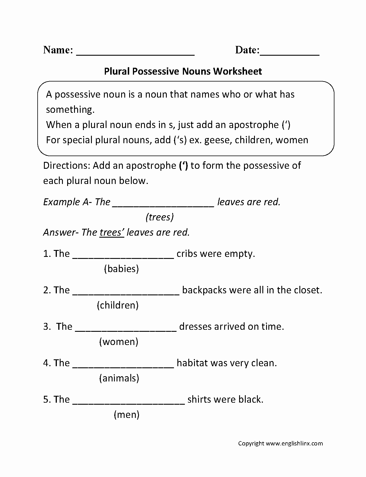 Singular Possessive Nouns Worksheet Inspirational Nouns Worksheets