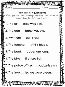 Singular Possessive Nouns Worksheet Inspirational Possessive Singular Nouns Worksheet by First Grade Faves