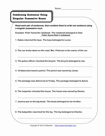 Singular Possessive Nouns Worksheet Unique 13 Best Of Free Printable Worksheets Possessive