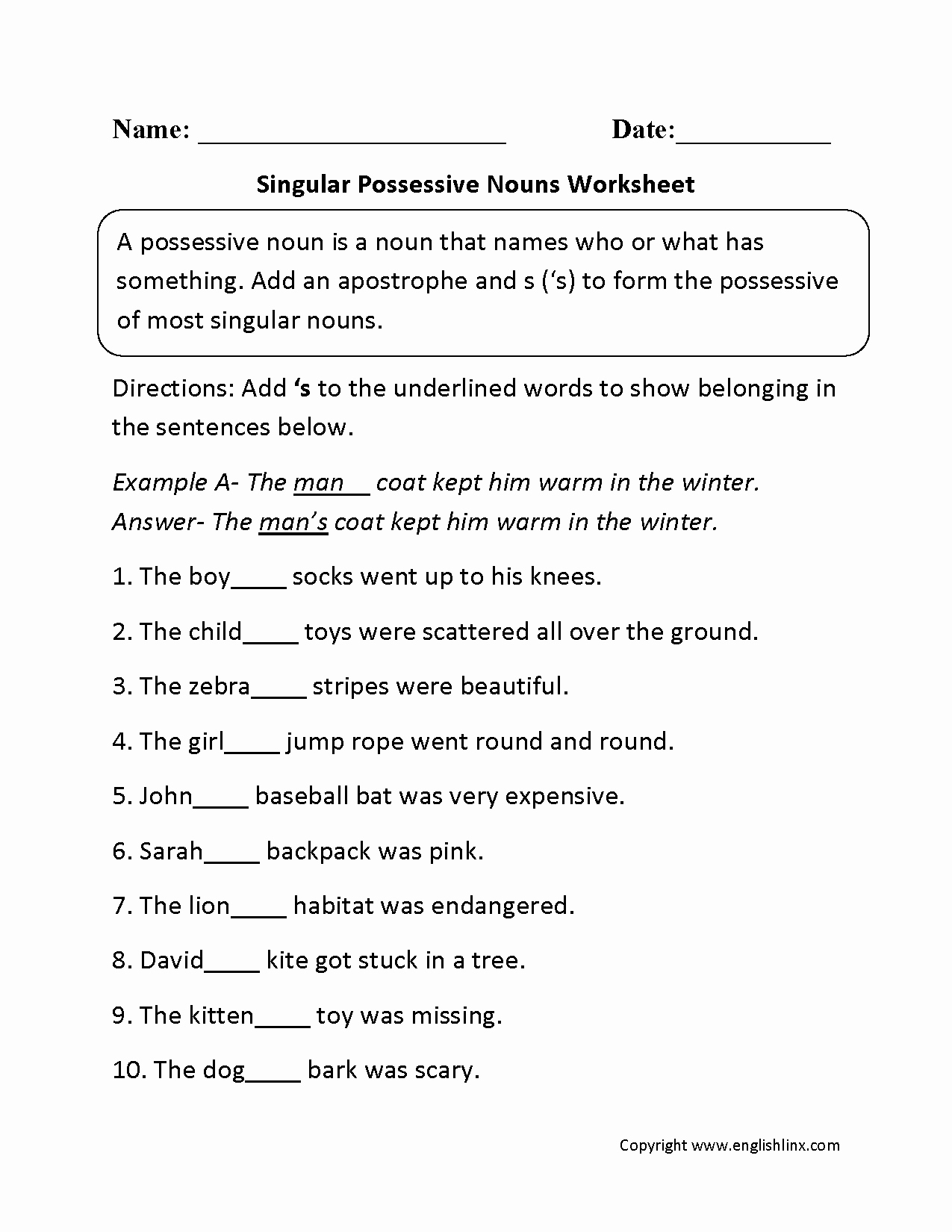 Singular Possessive Nouns Worksheet Unique Singular Possessive Nouns Worksheets
