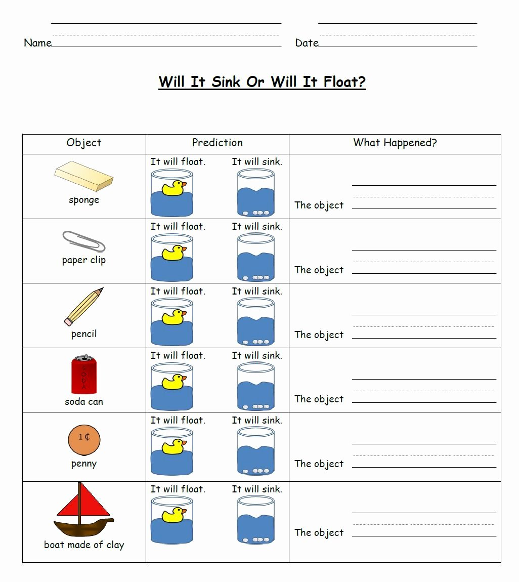 Sink or Float Worksheet Beautiful Sink and Float Science Activities